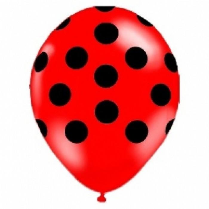 Balão Decorado Vermelho Confete Preto