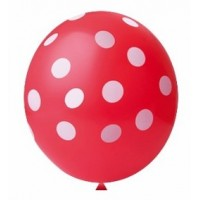 Balão Decorado Vermelho Confete Branco