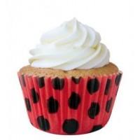 Mini Forminha Cupcake Vermelha de Poá Preta