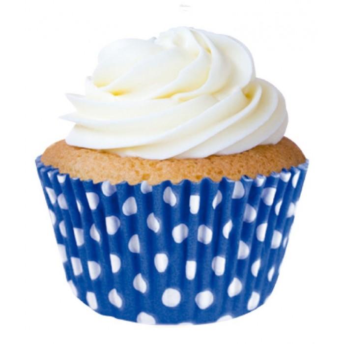 Forminha Cupcake Azul de Poá Branco