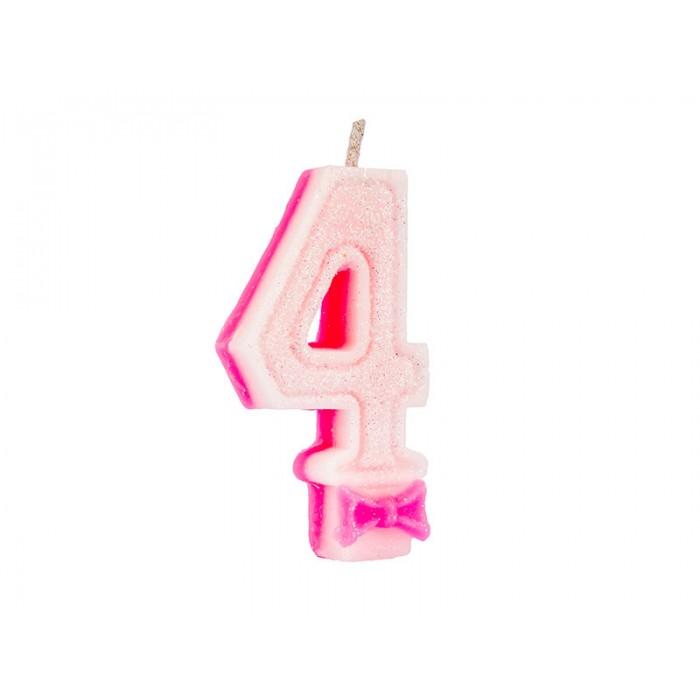 Vela Super Gliter N°4 Rosa